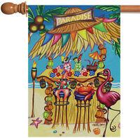 Toland Tiki Beach Bar 28 x 40 Colorful Tropical Paradise Flamingo House Flag