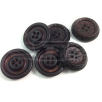 PACK OF 10 30mm BROWN CRACKED PATTERN PLASTIC BUTTON BUTTONS BTN (27174-48)