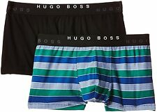 $65 HUGO BOSS MEN BLUE BLACK UNDERWEAR COTTON STRETCH TRUNK BOXER BRIEF 2-PACK L
