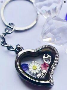 MOM Love HEART Flower Embrace Heart Floating Locket Charm Keyring GIFT BOX Uk