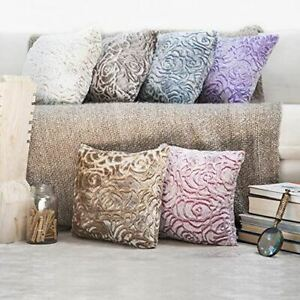 kindred Home Pack of 2, Square Decorative Throw Pillow Covers Soft Velvet Plush