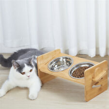 Double Bowl Dog Cat Feeder Elevated Stand Raised Dish Holder Feeding Food Water