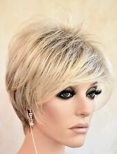 Synthetic Short Hair Wig for Women  Color Pale Cedar Rooted Blonde Cute  1207