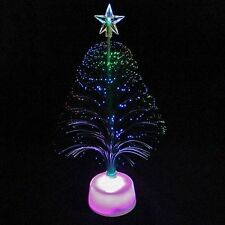 "Christmas Holiday Centerpiece Light  Fiberoptic Tree Display Color Change 11"""