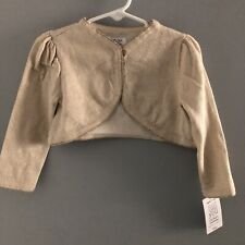 Nwt Just For You By Carters Infant Girl's Shrug, Gold Metallic, Sz 18M
