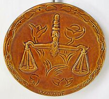Rare INGER WAAGE Stoneware Plate SCALES Justice Libra Forster Salt Glaze Wohlen