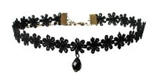 Black Bead Lace Flower Choker Necklace Tattoo Retro Vintage Dress Women Girls UK