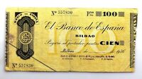 Spain-GUERRA CIVIL. Billete. 100 pesetas 1936. Bilbao. Circulado