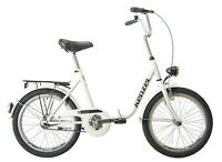 """Folding City Bicycle 1 Speed Bike 20"""" inch steel frame-quality processing WHITE"""