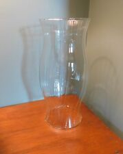 "LARGE CLEAR GLASS HURRICANE CANDLE-OIL LAMP CHIMNEY GLOBE SHADE 11 1/2"" HEIGHT"