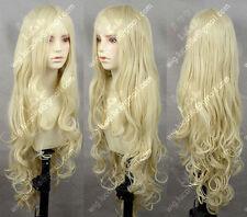 Hot New Milk Blonde Wavy Lolita Princess Party Cosplay Wig 80CM Free shipping
