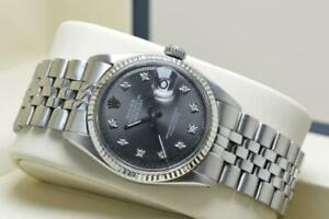 Vintage Rolex Oyster Perpetual Ref 1601 Grey Diamond Dial 1971 Serviced