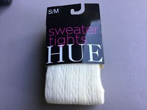 NWT Women's Hue Cable Sweater Tights Size S/M Ivory #1037G