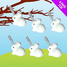 6 Fluffy White Easter Bunnies Art  Craft  Decoration  Egg Hunt Bonnet