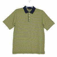 Walter Hagen Pima Blend Polo Shirt Mens Size M Blue Yellow Striped Short Sleeve