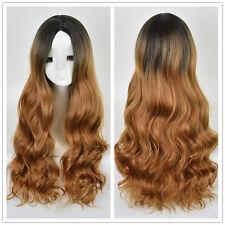 Women Long Mermaid Curly Wig Black Root Blonde Ombre Hair Natural Full Wigs