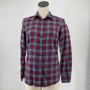 New J. Crew Womens Top Long Sleeve Red Gray Plaid Button Up Shirt Size XS