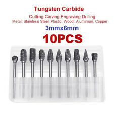10pcs Head Tungsten Carbide Steel Rotary Burr Die Grinder Bit Shank Carving Set