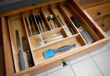 Home Basics New Bamboo Drawer Organizer with 8 Expandable Cutlery Tray - Bh01853