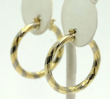 14k Gold Two Tone Textured Twisted Hoop Earrings