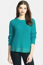MICHAEL KORS Women's Chunky Knit Sweater with Gold Studded Hem, Turquoise, L