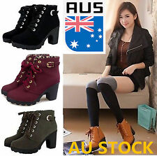 AU Women Winter Ankle Boots High Heels Snow Leather Boots Spring Autumn Boots