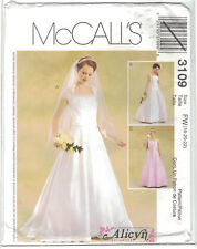 McCalls 3109 Alicyn Wedding Dress Gown Pattern Cap Sleeve Option Size 18 20 22
