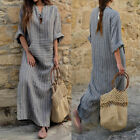 US Stock Plus ZANZEA Womens Striped Split Long Sleeve Kaftan Maxi Long Dress New