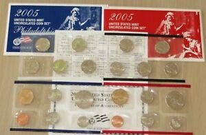 US Uncirculated 2005 PD US Mint set (#U37-1) State Quarters, Sacagawea Dollars