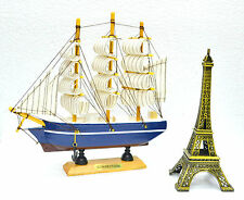 Archaic V Wooden Sailing ship Vintage Showpiece with Eiffel Tower|Gift Set