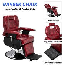 Barber Chair Hair Beauty Hydraulic Recline Salon Haircut Equipment Burgundy Red