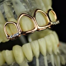 14k Rose Gold Plated Grillz All 4 Four Open Face Upper Top Teeth Hip Hop Grills