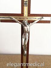 "JESUS CHRIST wooden/Wood/Metal INRI Decor wall Standing Cross Crucifix 10"" GIFT"