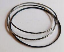 """3 Large Silver Black Metal Bangle Fashion Bracelets 9"""""""