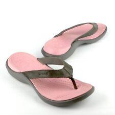 CROCS Women's Textile Strap Flip Flop Sz 6 Grey/Pink Thong Strap Slide Sandal
