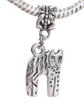 Cat Kitten Kitty Animal Pet Dangle Bead fits Silver European Charm Bracelets