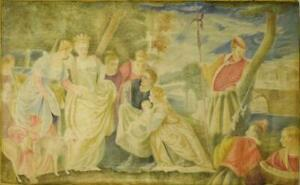 Superb Large Antique French Painted Mural Wall Hanging, After Paolo Veronese