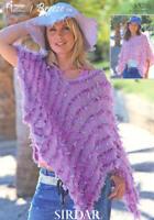 Sirdar Knitting Pattern Ladies Girls Poncho 6 Years + Eyelash DK Easy 8520