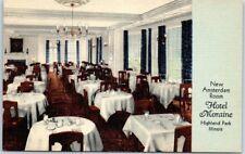 "Highland Park, Illinois Postcard HOTEL MORAINE ""New Amsterdam Room"" Linen 1940s"