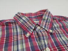 J. Crew Mens Pink Blue Madras Plaid Shirt Sz S Long Sleeve Button Up Fall Check