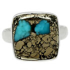 Natural Turquoise With Pyrite 925 Sterling Silver Ring Jewelry s.8 BR99198