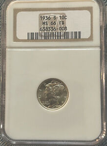 1936 S Mercury Silver Dime 10c NGC MS66 FB Excellent Coin. Slight Toning #350