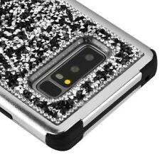FOR SAMSUNG GALAXY NOTE 8 BLACK SILVER CRYSTAL BLING SHOCKPROOF CASE TUFF COVER