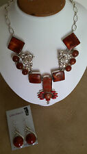 Artisan Crafted 925 Sterling Silver MexicanFire Agate Necklace & Earring Set