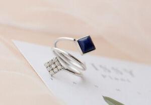 D10 Ring Lapislazuli Blue Zirconia White Rectangular 925 Sterling Silver Open
