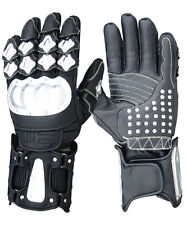BLACK LEATHER AND CARBON STEEL GLOVE LARGE