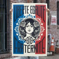 LIBERTÉ EGALITÉ FRATERNITÉ /MAKE ART NO WAR Set 2 Pcs SIGNED Shepard Fairey OBEY