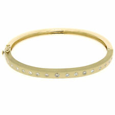 "14k Yellow Gold .85ctw Burnish Diamond 7"" Hinged Sandblast Open Bangle Bracelet"