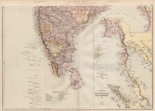 BRITISH INDIA S. Pegu Tenasserim Straits Settlements Singapore Maldives 1882 map