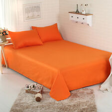 Orange Sheet Set Double/Queen/King Size Bed Pillow cases Solid Flat Fitted Sheet
